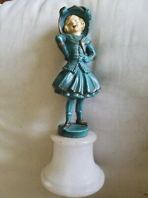 Art Nouveau Bronze Girl/Woman Figurine. Hand Painted. Marble base. ITALY.