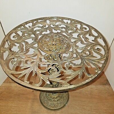 vintage weathered brass filigree plant/fern stand