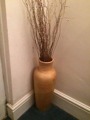 Yellow/Beige Coloured Pottery Vase - 51cms in height