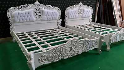 WHITE  6' Super King size French Baroque Louis  TOP Quality designer Rococo Bed