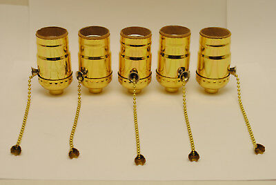 Lot of 5 Pieces, Brass Plated Pull Chain On-Off Lamp Sockets Edison/Medium Base