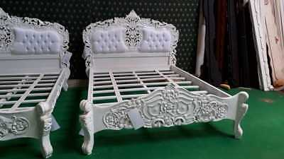 WHITE  5' UK King size French Baroque Louis  TOP Quality designer Rococo Bed