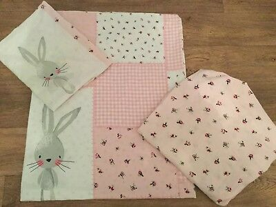 Pretty Pink Bunny Patchwork Cot Bed Set And Fitted Sheet - Reversible
