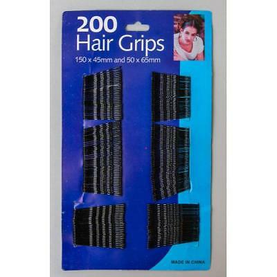200 Pack Hair Pins Grips Waved Bobby Pins Black Kirby Hair Grips 200pk - UK