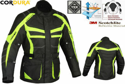 Hiviz / Black Mens Heavy Duty Ce Winter Motorbike Motorcycle Textile Jacket Coat