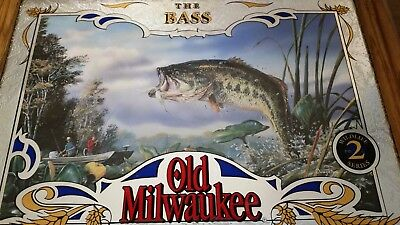 "Old Milwaukee Wildlife Series #2 ""The Bass"" Mirror Fishing Beer Mint Condition!"