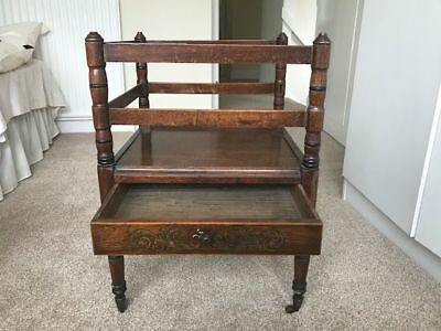Canterbury music stand,Victorian Mahogany with sliding drawer and inlaid pattern