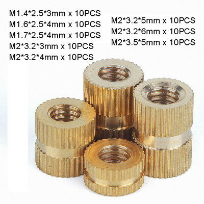 80pc M1.4,1.6,1.7,2 Solid Brass Injection Molding Knurled Thread Insert Nuts Kit
