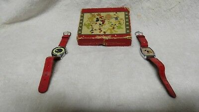 Ingersoll Time Corp. Vintage Mickey Mouse Watch Box And 2 Watches With Red Leath