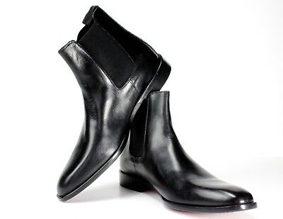 Handmade Mens Ankle Dress Boot Black Cap Toe Lace Up Ankle Leather