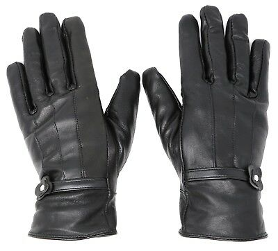New Women's Classy 100% Black Leather Winter Warm Gloves w/ Fur Lined Gloves