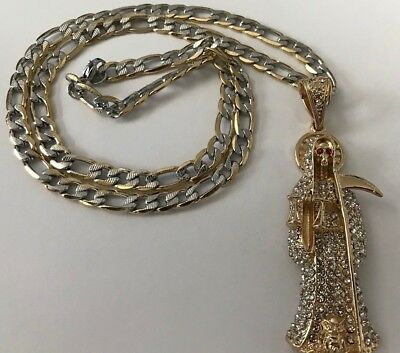 """Santa Muerte Gold Plated Pendant with 26"""" Stainless Steel Necklace Brand New"""