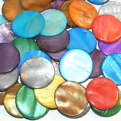 MP1619 Assorted Color Mother of Pearl 30mm Flat Round Gemstone Shell Beads 12pc