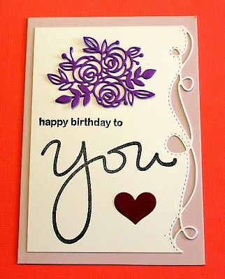 Purple Happy Birthday To You Handmade Card DIY Card Making Kit Wave Edge Flower