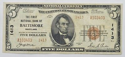 1929 $5 First National Bank of Baltimore MD NB Note - Charterr # 1413 *3970