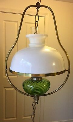 Antique English Hanging Light Lamp Brass & Green Glass Converted Oil to Electric