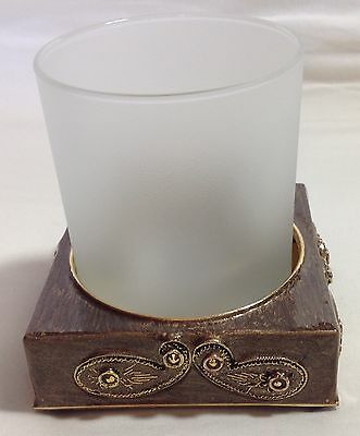 Mike & Ally Garden Bathroom Frost Glass Tumbler Enameled Jeweled NWT RETAIL $235