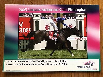 2005 Melbourne Cup Makybe Diva Genuine VRC Post Card