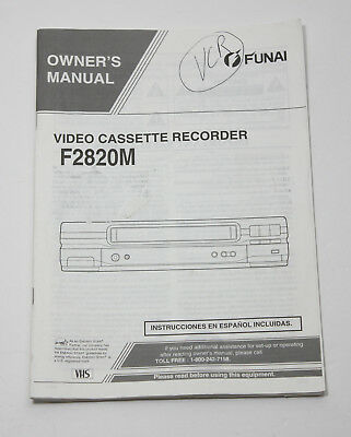 Funai F2820M F 2820 M  Original Owners Manual for VCR