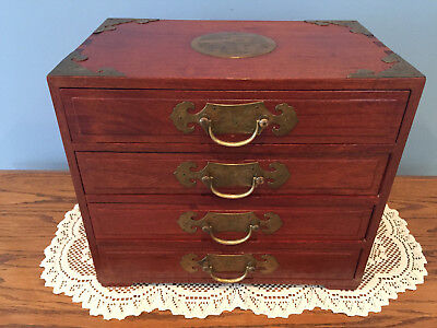 Vintage Rosewood Oriental Asian Jewelry Box Brass Accents & Lap Joints