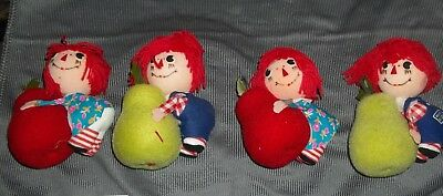 Raggedy Ann and Andy Foam Ball Ornaments Stick decorations vintage unused