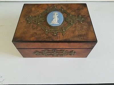 Vintage Wooden Jewelry Sewing Storage Box Victorian Large Cameo