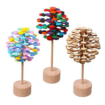 Early Educational Wooden Helicone Magic Wand Rotating Lollipop Design Toys B