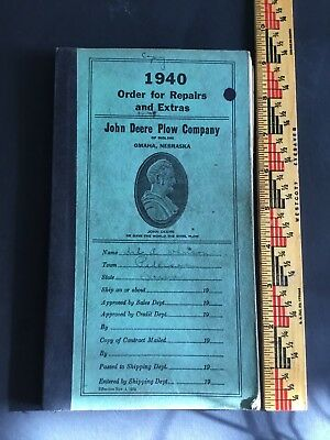 Vintage 1940 John Deere Plow Company Old Ordering Book Art Johnson Peterson IOWA