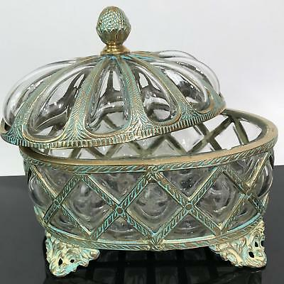 RARE Vtg Footed Brass Lattice Blown Bubble Art Glass Covered Candy Dish Bowl