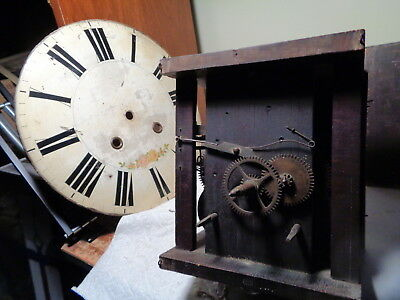 Antique-Black Forest-Wooden Plate-8 Day- Clock Movement-Ca.1850-To Restore-#P716