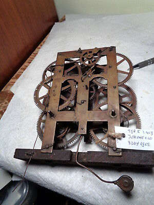 Antique-Jerome-8 Day-Weight-OG Clock Movement-Ca.1860-To Restore-#P709