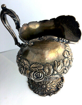 STIEFF Sterling Silver Art Nouveau Tea Set Creamer Repousse Floral Rose Antique