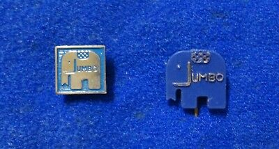 2 Old 1960s Elephant Shaped Advertising Lapel Pins - Jumbo Grocery Store Company