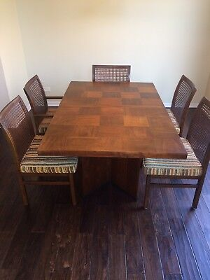 """Mid Century Modern Lane """"Staccato"""" Brutalist style dining table leaves & chairs"""