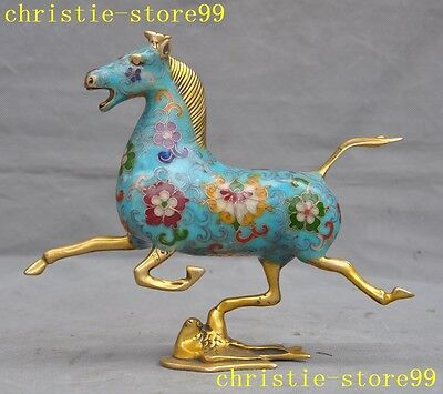 Chinese Fengshui Bronze Cloisonne Gilt Horse tread Fly Swallow success statue