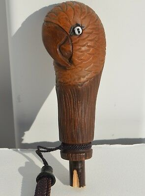 Antique Hand Carved Wood Figural Parrot Head Cane/umbrella/parasol Handle