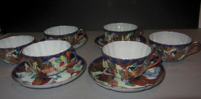 4 Antique Japanese Satsuma Porcelain Geisha China Tea Cups & Saucers Signed