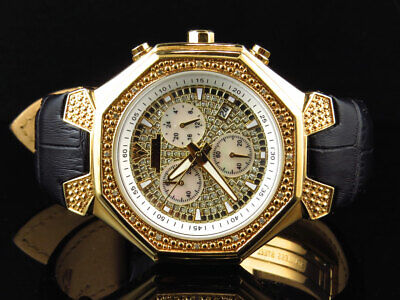Herren Aqua Master Gold Finish Oktagon Form Diamant Armbanduhr 42mm W #118 0.25