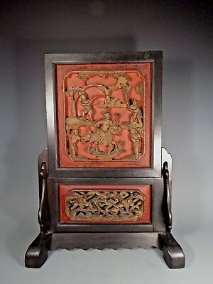 China Chinese Lacquered Table Screen w/ Figural Decoration ca. 19th century