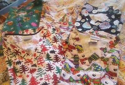 2X Holiday Scrub Tops Lot of 5