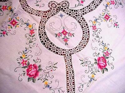 Vintage EMBROIDERED LG Tablecloth & 12 NAPKINS Unused PINK ROSES Beautiful NOS