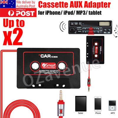 Car Tape Cassette 3.5mm Music AUX Audio Adapter Converter for iPhone iPod MP3