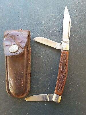 Vintage Pocket Knife Leather Pouch Stainless Steel Japan