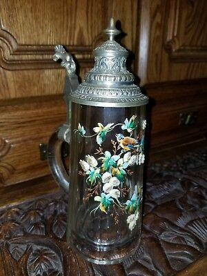 Antique German Stein Hand Painted Signed BEAUTIFUL!! INCREDIBLE DETAILS!! L@@K!!