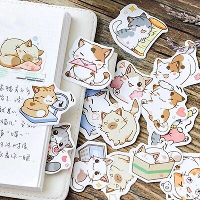 45Pcs Japanese Cute Cat Stickers Diary Decor Handmade DIY Scrapbooking Stickers