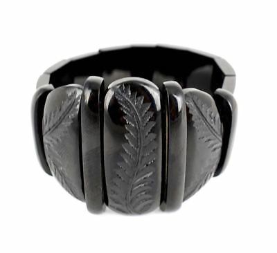 Antique Victorian Whitby black jet expandable panel bracelet with carved fern