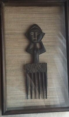 Unique Ashanti Tribe Ghana Africa Wooden Hair Comb In Shadow Box