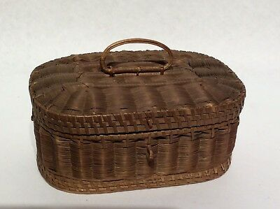Rare Antique Shaker Sewing Basket Black Ash With Inner Silk Liner Excellent Cond