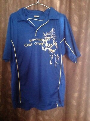 Women's blue horse riding polo top 'Showjumping Get over it', size L (18/20)