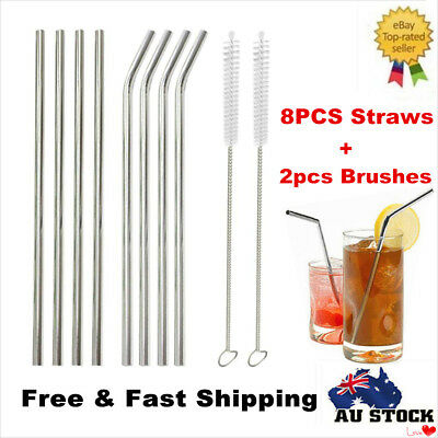 8 x Stainless Steel Metal Drinking Straw Straws Bent Reusable Washable + 2 Brush